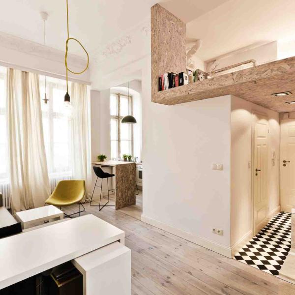 Дизайн интерьера однокомнатной квартиры студии в ультрасовременном стиле
