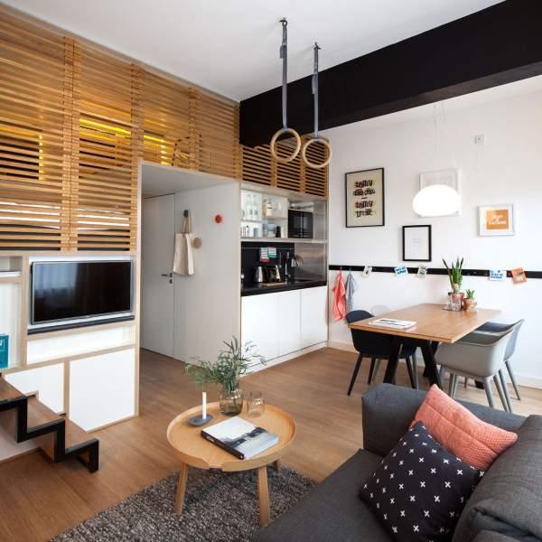 1-комнатная квартира студия - дизайн интерьера в скандинавском стиле