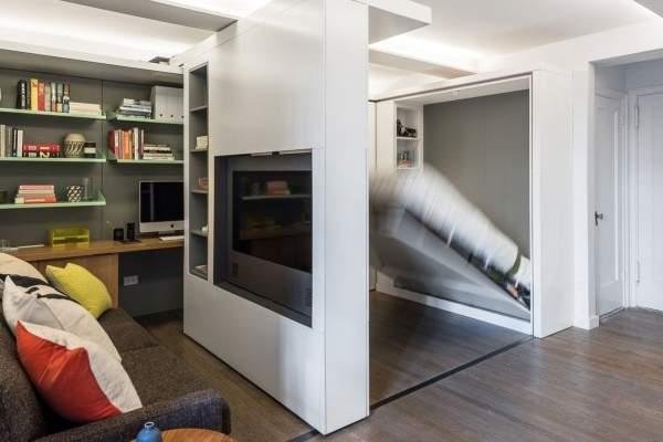 Дизайн проект однокомнатной квартиры студии со шкафом-кроватью