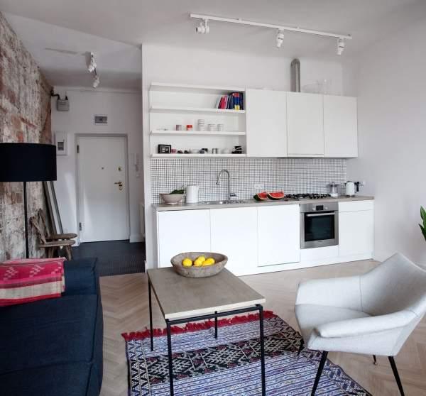 Скандинавский дизайн интерьера однокомнатной квартиры студии - фото