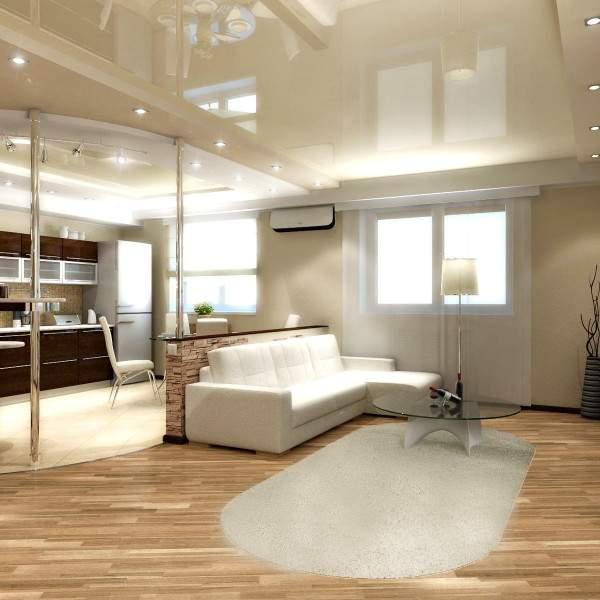 Необычная планировка и шикарный дизайн интерьера однокомнатной квартиры студии