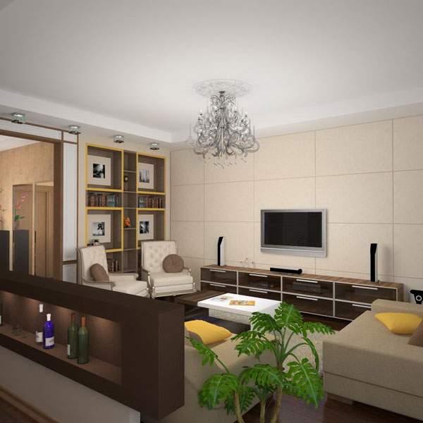 Однокомнатная квартира студия - современный интерьер дизайн фото