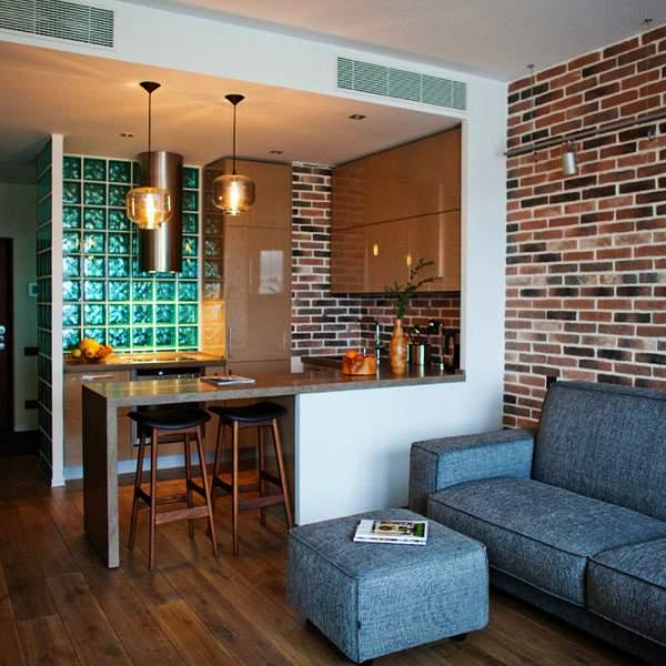 Однокомнатные квартиры студии - дизайн фото в современном стиле лофт