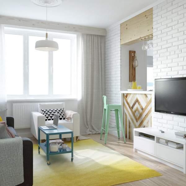 Дизайн интерьера однокомнатной квартиры студии в стиле лофт
