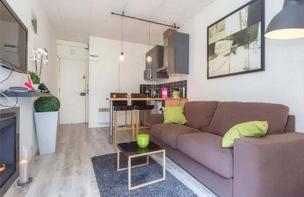 Дизайн однокомнатной квартиры студии 40 кв м - интерьер кухни прихожей гостиной