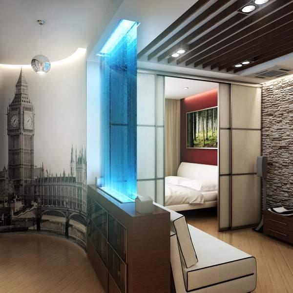 Современный дизайн интерьера однокомнатной квартиры студии - фото в стиле хай тек