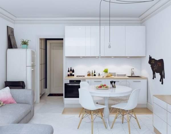 Однокомнатные квартиры студии - дизайн фото в светлых тонах