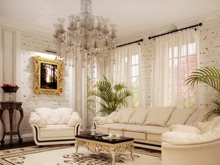 Интерьер частного дома в классическом стиле с кирпичной стеной