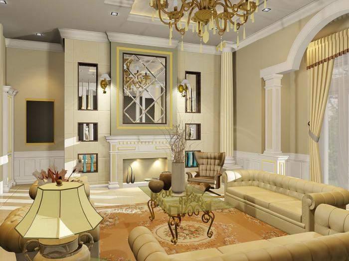 Дизайн интерьера гостиной в частном доме в классическом стиле
