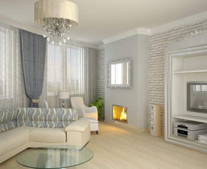 Классический дизайн зала с камином в частном доме