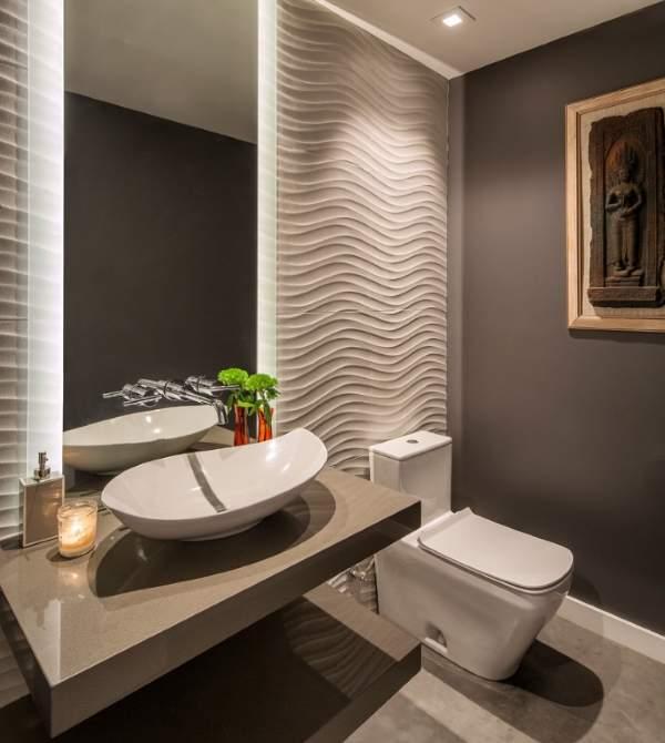 Шикарный дизайн туалета в серых тонах