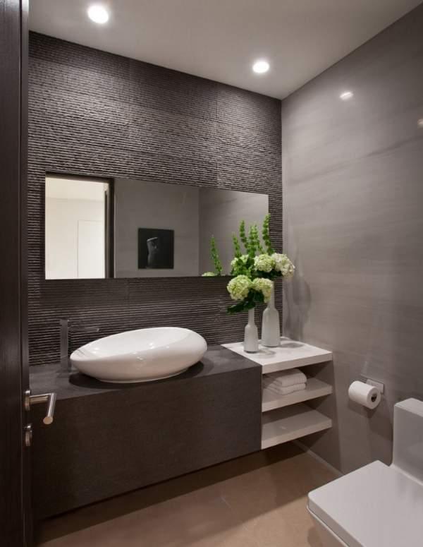 Черно-белый дизайн туалета - фото красивой комнаты