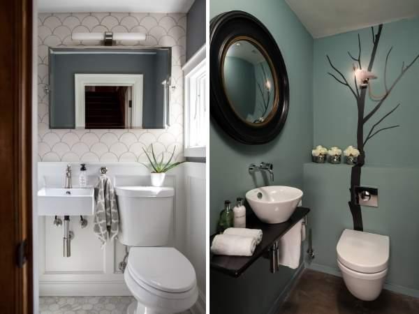 Модный дизайн маленького туалета - фото с раковиной