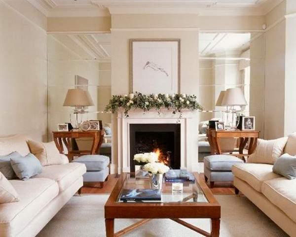 Интерьер гостиной с камином в дизайне частного дома