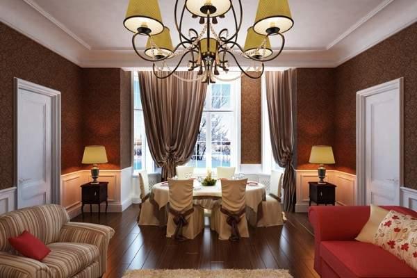 Дизайн интерьера гостиной столовой в частном доме - идеи 2017