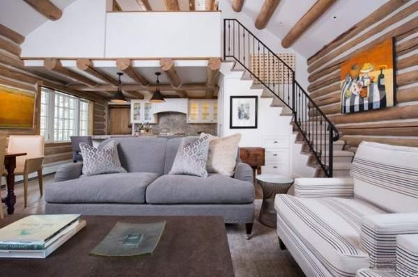 Идеи интерьера гостиной с лестницей в частном доме - фото 2017 года
