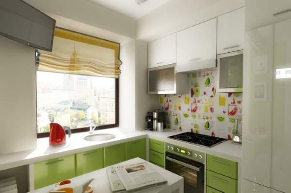 Маленькие комнаты фото - дизайн бело-зеленой кухни в квартире