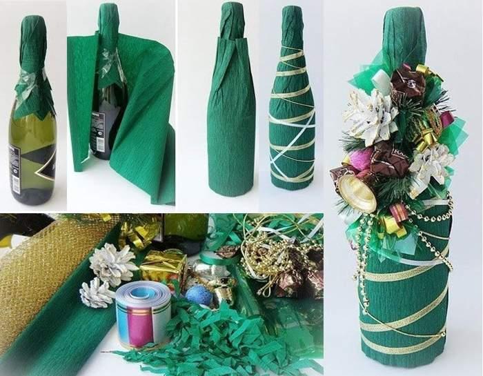Украшение бутылки шампанского мягкой бумагой и другим декором