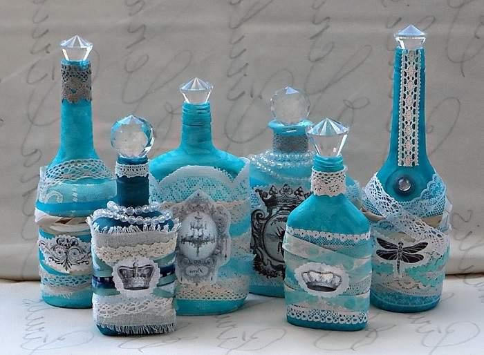 Как украсить бутылку коньяка лентами, тканью и кружевом