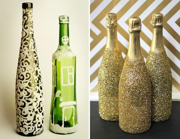 Как украсить бутылку вина красивым узором