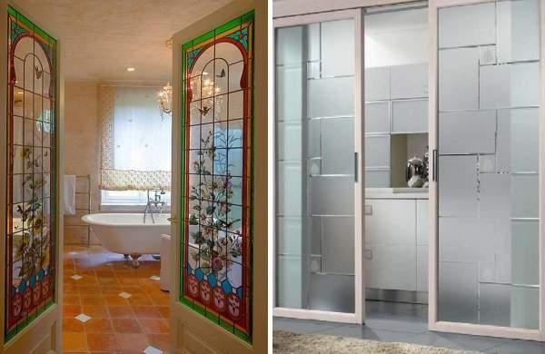 Необычные стеклянные двери для ванной с рисунком и текстурой