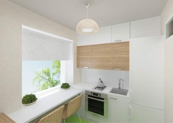 Современный интерьер кухни в квартире хрущевке в стиле минимализм