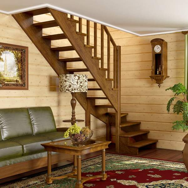 Межэтажные деревянные лестницы в частном доме - фото дизайна в современном стиле
