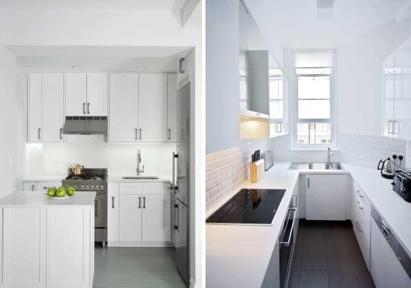 Белая кухня с белой столешницей - фото в дизайне интерьера