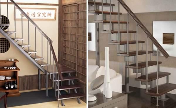 Маршевые лестницы в частном доме - фото из металла