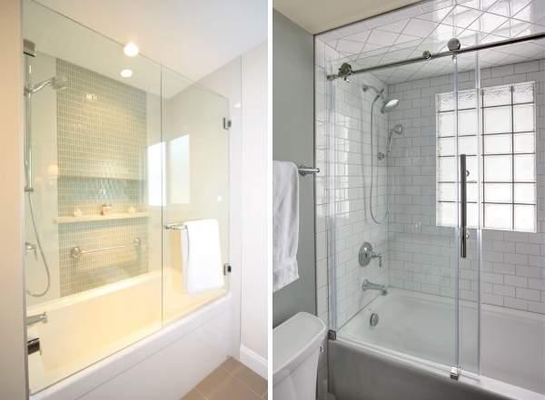 Раздвижные и маятниковые стеклянные двери для ванны