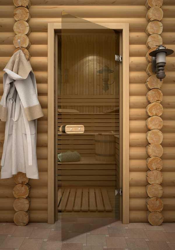 Прозрачная стеклянная дверь для бани с деревянной ручкой
