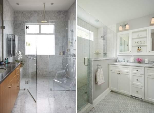 Стеклянные двери для ванной комнаты - как сделать душ без кабины