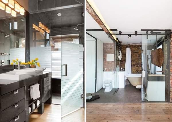 Маятниковые и раздвижные стеклянные двери для ванной