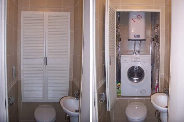 Дизайн туалета со стиральной машиной - фото шкафчика над унитазом