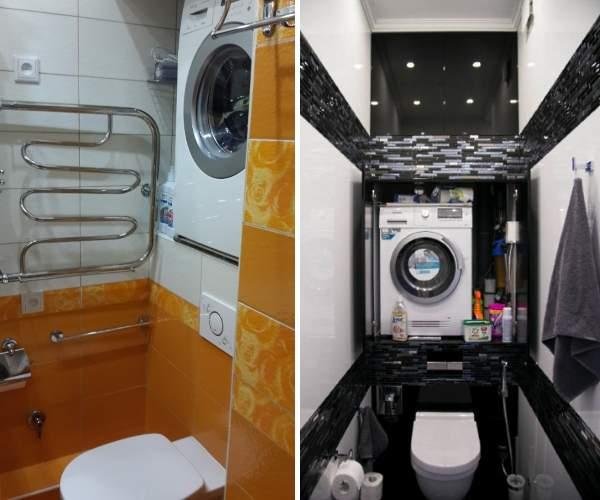 Стиральная машина над унитазом - фото в дизайне туалета