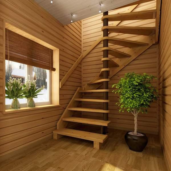 Современные винтовые лестницы в частном доме из дерева