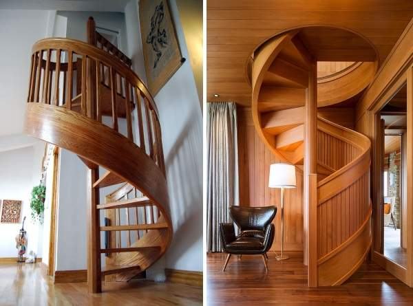 Винтовые межэтажные лестницы из дерева в частном доме