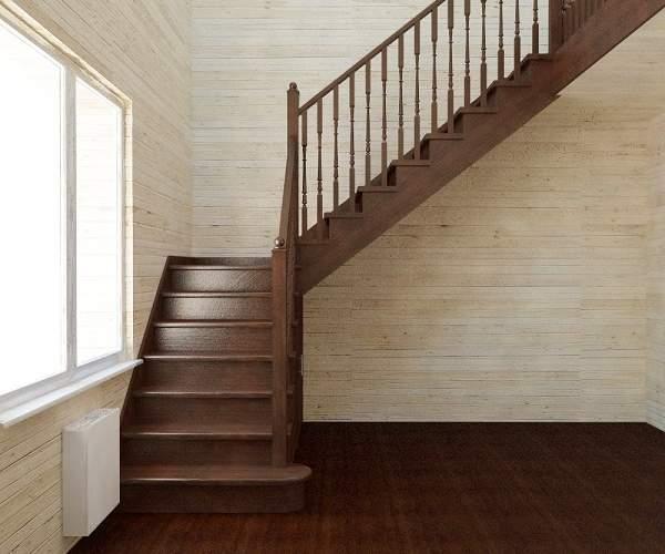 Межэтажные лестницы в частном доме с несколькими маршами из дерева