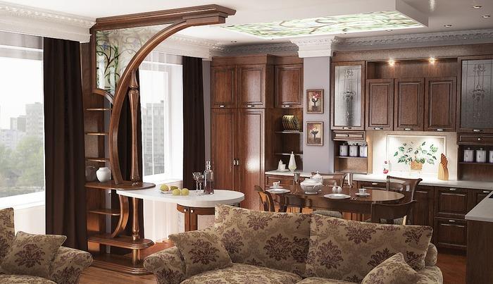 Зонирование гостиной разными дизайна потолка и пола