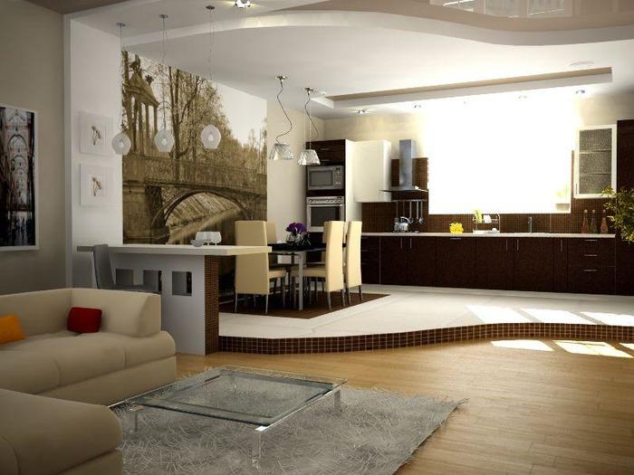Зонирование гостиной разным цветом на стенах и полах