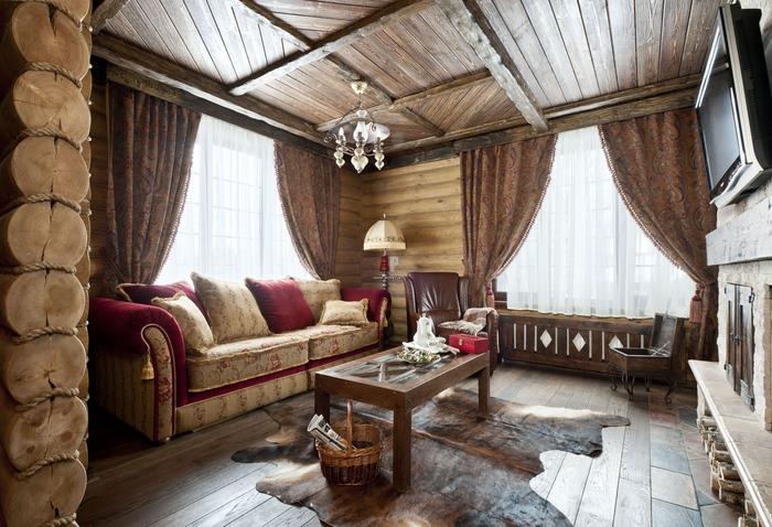 Стиль кантри в гостиной частного дома