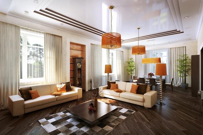 Рестро стиль в интерьере гостиной дома