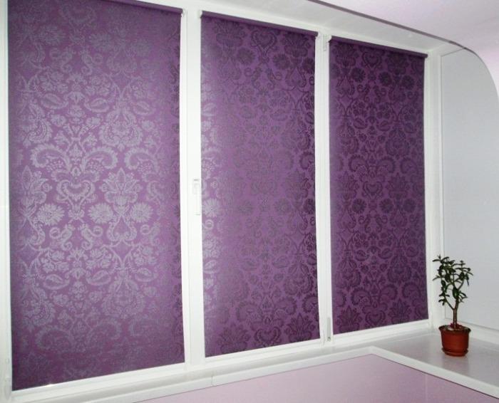 Фиолетовые римские шторы на пластиковые окна фото открытого типа