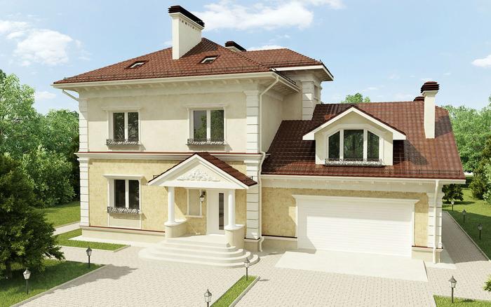 Проекты домов с гаражом под одной крышей (наземный боковой) фото
