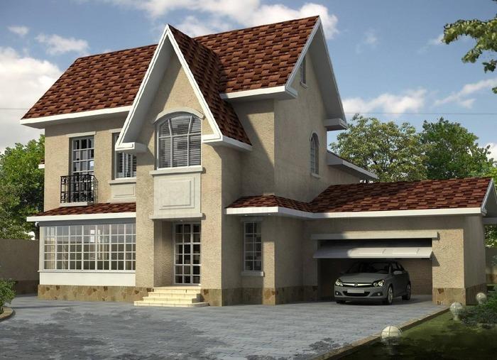 Современный проекты домов с гаражом под одной крышей (наземный боковой) фото
