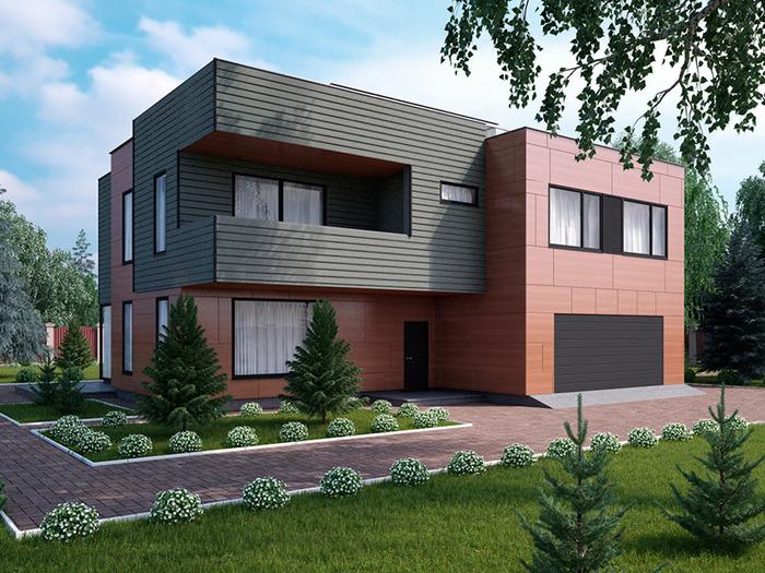 Красивый дом с гаражом под одной крышей