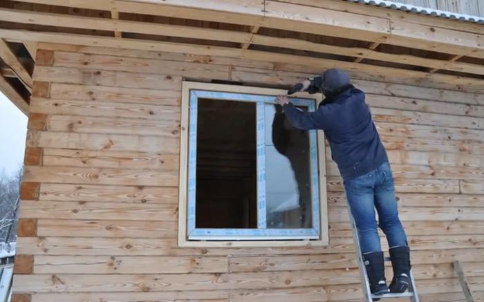 Окосячка окон в деревянном доме фото и варианты