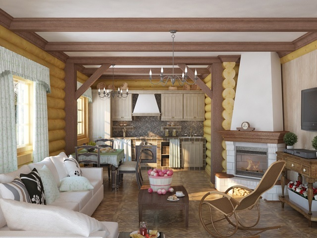 Дизайн гостиной в деревянном доме фото 2017