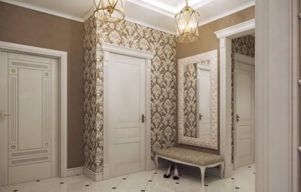 Интересный дизайн обоев в коридор