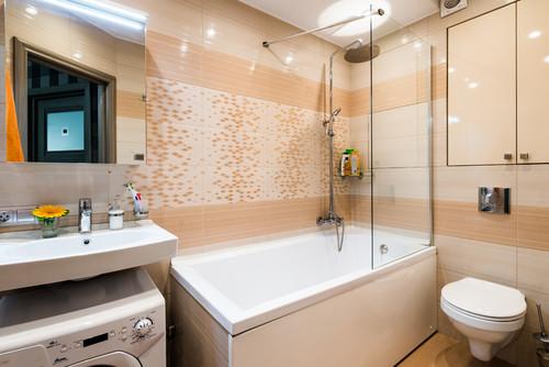 Дизайн однокомнатной квартиры 30 кв.м фото совмещенной уютной ванной